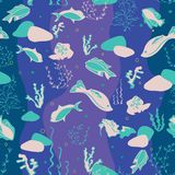 Seamless pattern with whales, seaweeds, corals and fish. stock illustration