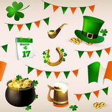 Seamless pattern of illustrations for celebrating St. Patrick`s Day. Leprechaun hat, pot of gold, clover and flag Royalty Free Stock Photography