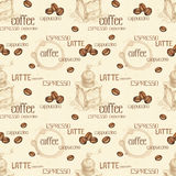 Seamless pattern with illustrations of coffee beans Royalty Free Stock Photos