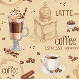 Seamless pattern with illustrations of coffee cup Royalty Free Stock Image