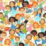 Seamless pattern with illustrations of funny happy kids. Child boy and girl, group character kids vector Stock Photos