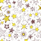 Seamless pattern with illustrations of hand drawn stars. Vector star pattern sketch, asterisk and starry background Stock Photo