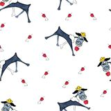 Seamless pattern with illustrations of stylized cartoon poodles for children and girls.  stock illustration
