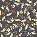 Seamless pattern with the image of the berries cowberries, leave. S and flowers.  Perfect for wallpapers, pattern fills,  page backgrounds, surface textures Royalty Free Stock Images