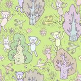 Seamless pattern. Image of cheerful cute cartoon Stock Photos