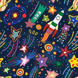 Seamless pattern with the image of the cosmos. Vector illustration. Stock Images