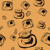 Seamless pattern with the image of a cup of coffee with toast with fried eggs Stock Image