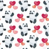 Cute pandas with balloons pattern. Seamless pattern with the image of cute pandas and hearts. Colorful vector background Royalty Free Stock Photos