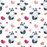 Cute pandas with balloons pattern. Seamless pattern with the image of cute pandas and hearts. Colorful vector background Royalty Free Stock Image