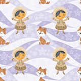 Eskimo people and dogs. Seamless pattern with the image of the Eskimo people and husky dogs. Vector background Stock Image