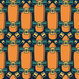 Seamless pattern with the image of longboard Stock Images