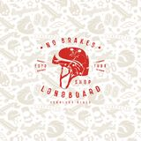 Seamless pattern with image of longboarding equipment Royalty Free Stock Photography