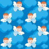 Cute angel seamless pattern. Seamless pattern with the image of a pretty little angel. Vector background Royalty Free Stock Photography