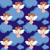 Pretty angel seamless pattern. Seamless pattern with the image of a pretty little angel. Vector background Royalty Free Stock Photo