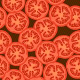 Seamless pattern with the image of the round sliced tomatoes. Seamless pattern on a dark brown background with a texture of small circles and with the image of Stock Photo