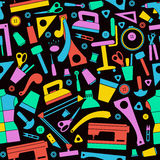 Seamless pattern with image sewing and hobby tools Royalty Free Stock Photo