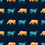 Seamless pattern with the image of silhouettes of cows and flowers stock illustration