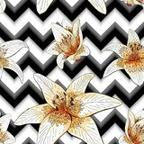 Seamless pattern with image tiger lily flowers on a geometric background royalty free illustration