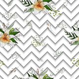 Seamless pattern with image tiger lily flowers on a geometric background. Seamless pattern with image tiger lily flowers on a depth geometric black and white royalty free illustration