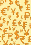 Seamless pattern with the image of the world money signs. Vector illustration. Royalty Free Stock Photo