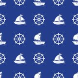 Seamless pattern with the image of yachts, anchor, steering wheel. Can be used for paper, background, texture, wallpaper. Vector illustration Stock Illustration