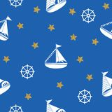 Seamless pattern with the image of yachts, anchor, steering wheel. Can be used for paper, background, texture, wallpaper. Vector illustration Royalty Free Illustration