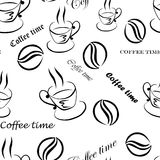 Seamless pattern with images of a cup of coffee, coffee beans and inscriptions ''Coffee time'', hand-drawn by black ink Stock Image