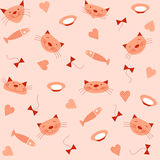 Seamless pattern with images of heads of cats, fish, bowls of milk, bows and hearts. Royalty Free Stock Photo