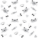 Seamless pattern with images of heads of cats, fish, bowls of milk, bows and hearts. Stock Photo