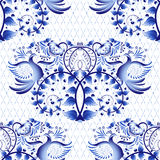 Seamless pattern imitation of painting on porcelain in the Russian style Gzhel or Chinese painting. Light background with birds. Stock Photos