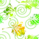 Seamless pattern with imprints of the leaves. Stock Photos