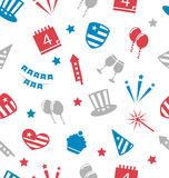 Seamless Pattern for Independence Day of America, Flat Icons Stock Images