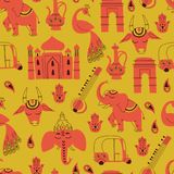 Seamless Pattern with Indian Elements. Hand Drawn Vector. Seamless Pattern with India Icons: Elephant, Cow, Ganesha, Taj mahal, Indian gate on White Background Royalty Free Illustration