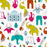 Seamless Pattern with India Icons: Elephant, Cow, Ganesha, Taj mahal, Indian gate on White Background. Seamless Pattern with Indian Elements. Hand Drawn Vector Stock Illustration