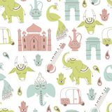 Seamless Pattern with Indian Elements. Hand Drawn Vector. Seamless Pattern with India Icons: Elephant, Cow, Ganesha, Taj mahal, Indian gate on White Background Stock Illustration