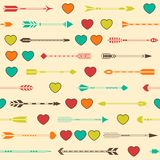 Seamless pattern with Indian arrows and hearts in Stock Photo