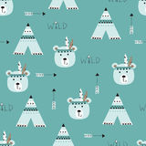 Seamless pattern with indian bears. Wigwams and arrows for wrapping paper, scrapbook paper, bedding pattern Royalty Free Stock Photo
