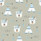 Seamless pattern with indian bears. Wigwams and arrows for wrapping paper, scrapbook paper, bedding pattern Royalty Free Stock Images