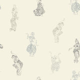 Seamless pattern with Indian dancers Royalty Free Stock Photography