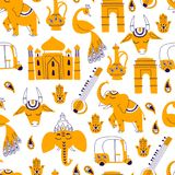 Seamless Pattern with India Icons: Elephant, Cow, Ganesha, Taj m. Seamless Pattern with Indian Elements. Hand Drawn Vector on White Background Vector Illustration