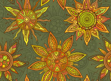 Seamless   pattern with indian ornament of the suns Royalty Free Stock Photo