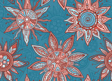 Seamless   pattern with indian ornament of the suns Stock Photos