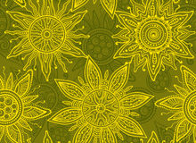 Seamless   pattern with indian ornament of the suns Stock Photography