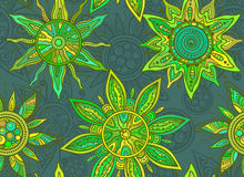 Seamless   pattern with indian ornament of the suns Stock Image