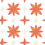 Seamless pattern in indian style. Abstract lotuses in red colors with gold contours on a white background. vector illustration