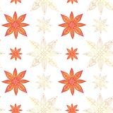 Seamless pattern in indian style. Abstract lotuses and stars in red colors with gold contours on a white background. Vector vector illustration