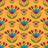 Seamless pattern with Indian stylization lotus Royalty Free Stock Photography