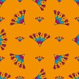 Seamless pattern with Indian stylization lotus Royalty Free Stock Photo