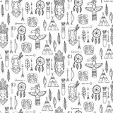 Seamless pattern with indian tribal elements. Stock Images