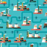Seamless pattern of industrial power plants in Royalty Free Stock Photography